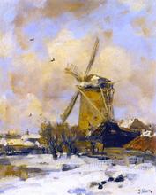 A Windmill in a Winter Landscape - Jacob Henricus Maris