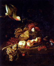 Still Life Of Grapes, A Halved Peach And Cherries Resting On A Table With A Parrot - Jakob Bogdany