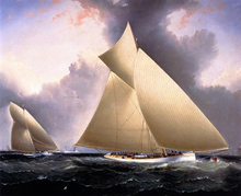 Mayflower Leading Galatea, America's Cup 1886 - James E Buttersworth