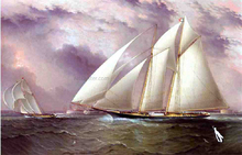 A Schooner Racing off New York Harbor - James E Buttersworth