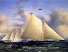 The Sloop 'Maria' Racing the Schooner Yacht 'America,' May 1851 - James E Buttersworth