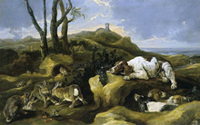 Spaniels Stalking Rabbits in the Dunes - Jan Fyt
