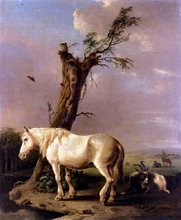 A Pony, Goat And Resting Cattle In A Landscape - Jan Kobell
