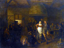 A Tavern Interior with a Bagpiper and a Couple Dancing - Jan Miense Molenaer