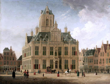 Delft: A View of the Town Hall Seen from the Grote Market