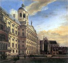 Amsterdam, Dam Square with the Town Hall and the Nieuwe Kerk - Jan Van der Heyden