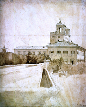 View of the Villa Medici - Jean-Auguste-Dominique Ingres