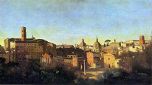The Forum Seen from the Farnese Gardens, Evening - Jean-Baptiste-Camille Corot