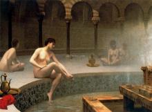 A Bath Woman Bathing Her Feet