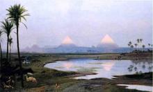 The Pyramids, Sunrise - Jean-Leon Gerome