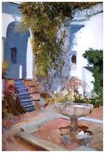 A Fountain at the Alcazar in Sevilla - Joaquin Sorolla Y Bastida