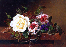 Still Life with a Rose and Violets on a Marble Ledge - Johan Laurentz Jensen