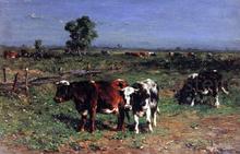 Cattle Grazing - Johannes-Hubertus-Leonardus De Haas