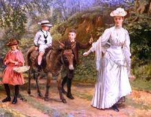 A donkey Ride Along A Woodland Path - John Barwell
