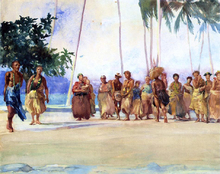 Fagaloa Bay, Samoa, 1890, The Taupo, Gaase, Marshalling the Women Who Bring Presents of Food