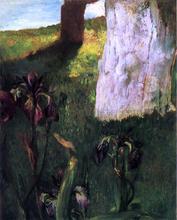 Flowers, Blue Iris, with Trunk of Dead Apple-Tree - John La Farge