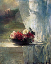 Flowers in a Persian Porcelain Water Bowl (also known as Flowers on a Windowsill) - John La Farge