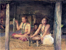 Siva with Siakumu Making Kava in Tofae's House