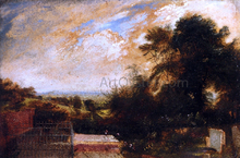 Country Graveyard, Possibly Bunhill Fields, Finsbury, A Wooded Landscape Beyond - John Martin