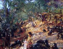 Ilex Wood at Majorca with Blue Pigs - John Singer Sargent