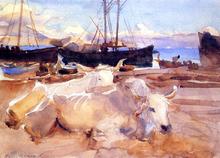 An Oxen on the Beach at Baia - John Singer Sargent