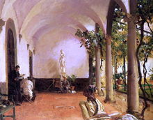 At Villa Torre Galli: The Loggia - John Singer Sargent