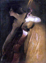 A Ray of Sunlight (also known as The Cellist) - John White Alexander