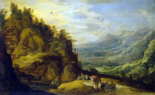 Mountainous Landscape with Figures and a Donkey - Joos De Momper
