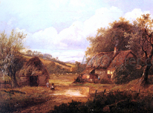 Landscape with Figures Outside a Thatched Cottage
