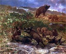 A Family of Wild Boar - Karl Bodmer