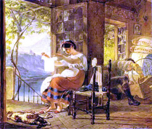 Italian Woman Heavy with a Child Examining a Shirt and her Husband Making a Cradle - Karl Pavlovich Brulloff