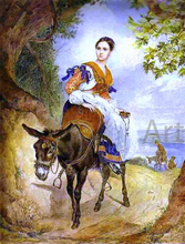 A Portrait of O. P. Ferzen on a Donkeyback - Karl Pavlovich Brulloff