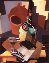 Still Life with Bottle and Glass - Lajos Tihanyi