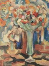 Still Life with Flowers in a Glass Vase - Leo Gestel