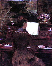 At the Piano - Louise Abbema