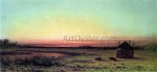 Marsh Scene: Two Cattle in a Field