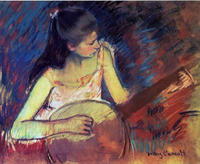 Girl with a Banjo - Mary Cassatt