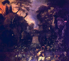The Landscape with a Graveyard by Night - Mathias Withoos