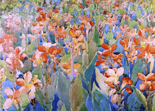 Bed of Flowers (also known as Cannas or The Garden) - Maurice Prendergast
