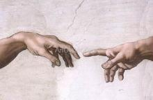 The Creation of Adam - The Hands Detail