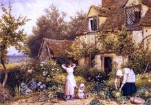 At the Cottage Door - Myles Birket Foster
