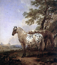 A Landscape with Two Horses - Nicolaes Berchem
