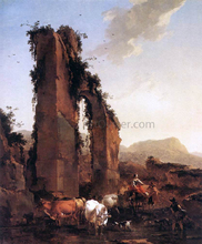 Peasants with Cattle by a Ruined Aqueduct - Nicolaes Berchem