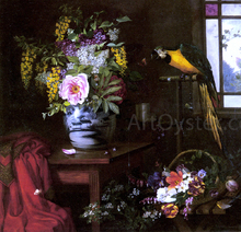 A Still Life With A Vase, Basket And Parrot - Olaf August Hermansen