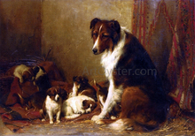 A Collie and Her Puppies - Otto Eerelman