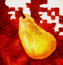 Paintings on canvas - Yello Pear on Red - Our Original Collection