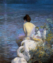 Bather with Child and Swan by the Sea - Paul Albert Besnard