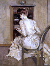 Madame Paul Helleu Seated at Her Secretaire, Seen from the Back - Paul Cesar Helleu