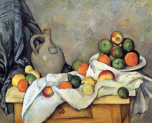 A Curtain, Jug and Fruit