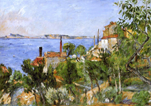 A Landscape, Study after Nature (also known as The Seat at L'Estaque) - Paul Cezanne